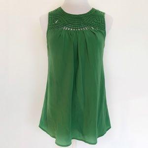 Banana Republic Blouse Silk Green Sleeveless Top S
